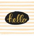 Hello lettering with ethnic pattern vector image