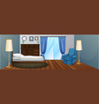bedroom with wooden furniture and blue armchair vector image