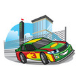 cartoon racing car running fast on the track vector image
