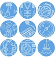 Marine elements round icons set vector image