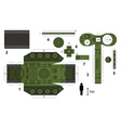 Paper model of an old tank vector image