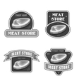 Retro butchery and meat store black badge label vector image