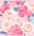 seamless pattern with peonies and roses vector image