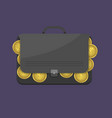 suitcase with euro coins vector image