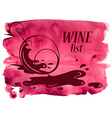 Watercolor background with wine glass vector image