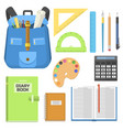 school bag backpack full of supplies children vector image
