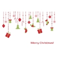 Christmas greeting card with hanging toys vector image