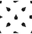 cupcake pattern seamless black vector image