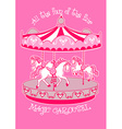 Magic carousel with white horses vector image