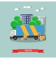 Delivery truck poster in flat style vector image