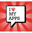 I love apps background vector image