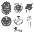 Set of vintage graduation labels badges and desig vector image vector image