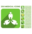 Three Teeth Icon and Medical Longshadow Icon Set vector image