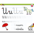 learn to write letter u vector image