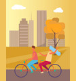 couple riding bicycle in park vector image