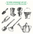 Drawn gardening tools sketch vector image