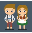 Boy girl cartoon couple costume traditional icon vector image