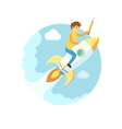 Young man flying on the rocket in the sky Flat vector image
