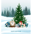 Holiday background with a Christmas tree and vector image vector image