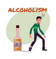 unshaven man with hand chained to liquor bottle vector image