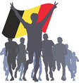 Winner with the Belgium flag at the finish vector image