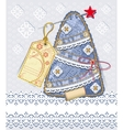 merry christmas card background in denim scrapbook vector image vector image