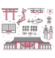 Country Japan trip of goods places and features vector image