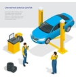 Car repair service center Tire service flat set vector image