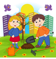 boy and girl is planting tree vector image