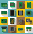computer chips icons set flat style vector image