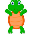 happy green turtle cartoon vector image