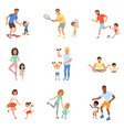 kids with parents playing football tennis ping vector image