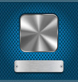 metal square button and rivetted steel plate on vector image