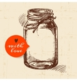 Rustic mason canning jar Vintage hand drawn sketch vector image