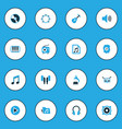 audio colorful icons set collection of guitar vector image