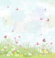 Summer background floral meadow with pink vector image vector image