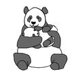 Panda holding cub Hand drawn vector image