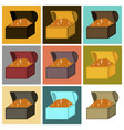 assembly of flat icons treasure chest vector image