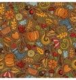Cartoon cute hand drawn Autumn seamless pattern vector image