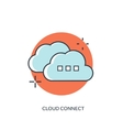 Flat lined cloud computing icon Data storage vector image