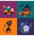 Pumpkin Sweets and Cat Halloween vector image