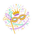 mardi gras mask icon vector image