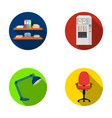 shelves folders and notebooks with business vector image
