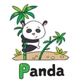 Little panda on bamboo for ABC Alphabet P vector image