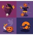 Halloween Pumpkin Cauldron and Scarecrow vector image
