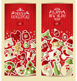Christmas banner set on red knitting texture vector image
