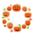 Cute pumpkins frame for halloween vector image