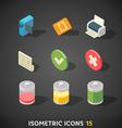 Flat Isometric Icons Set 15 vector image