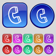 handset icon sign A set of twelve vintage buttons vector image