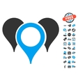 Map Pointers Icon With Free Bonus vector image